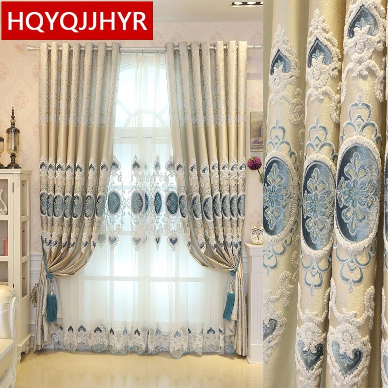 Europa hecho a medida de lujo bordado Blackout cortinas para sala de estar artesanía clásica cortinas de alta calidad para el dormitorio