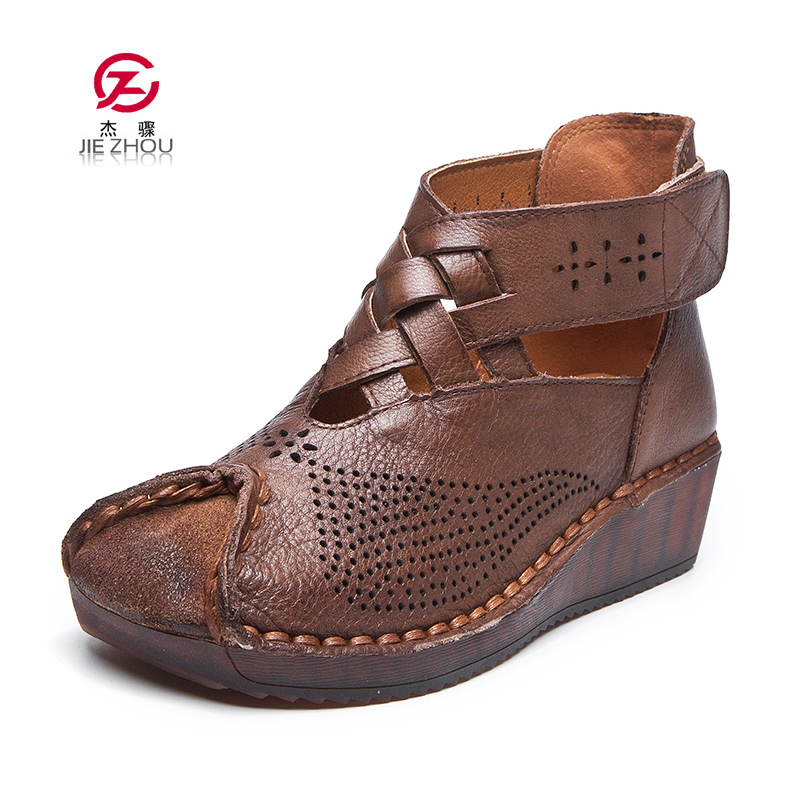 Summer Women Boots Casual Ankle Boots Genuine leather Cut outs Wedges Boots Retro Handmade Women s