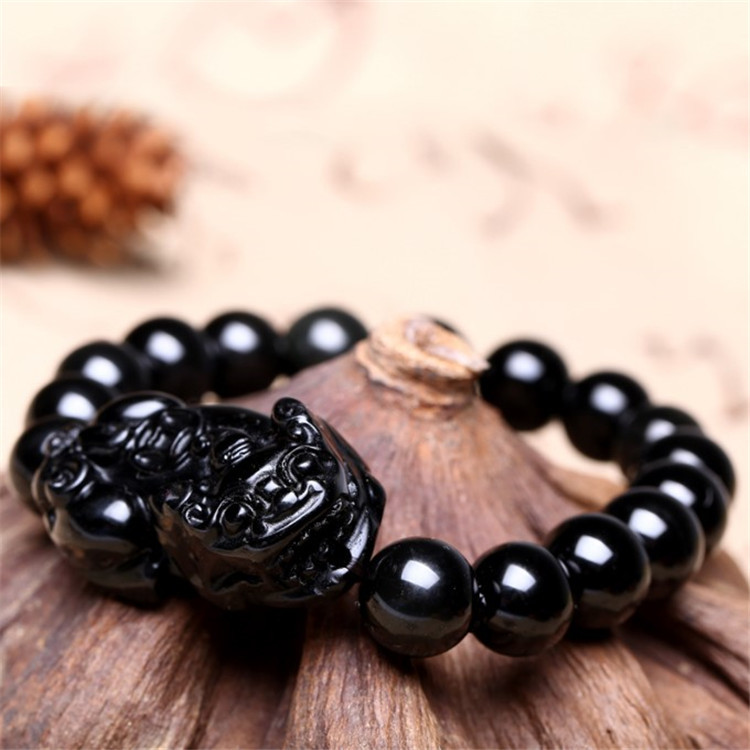 Natural Wujin Black Yao Bracelet Men And Women Recruit Wealth Exorcise Evil Spirits Crystal 12MM