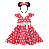 White Polka Dot Toddler Girls Cap Sleeves Bowknot Dress Kids Fancy Party Cosplay Vintage High Waist Plead Skirt With Headband