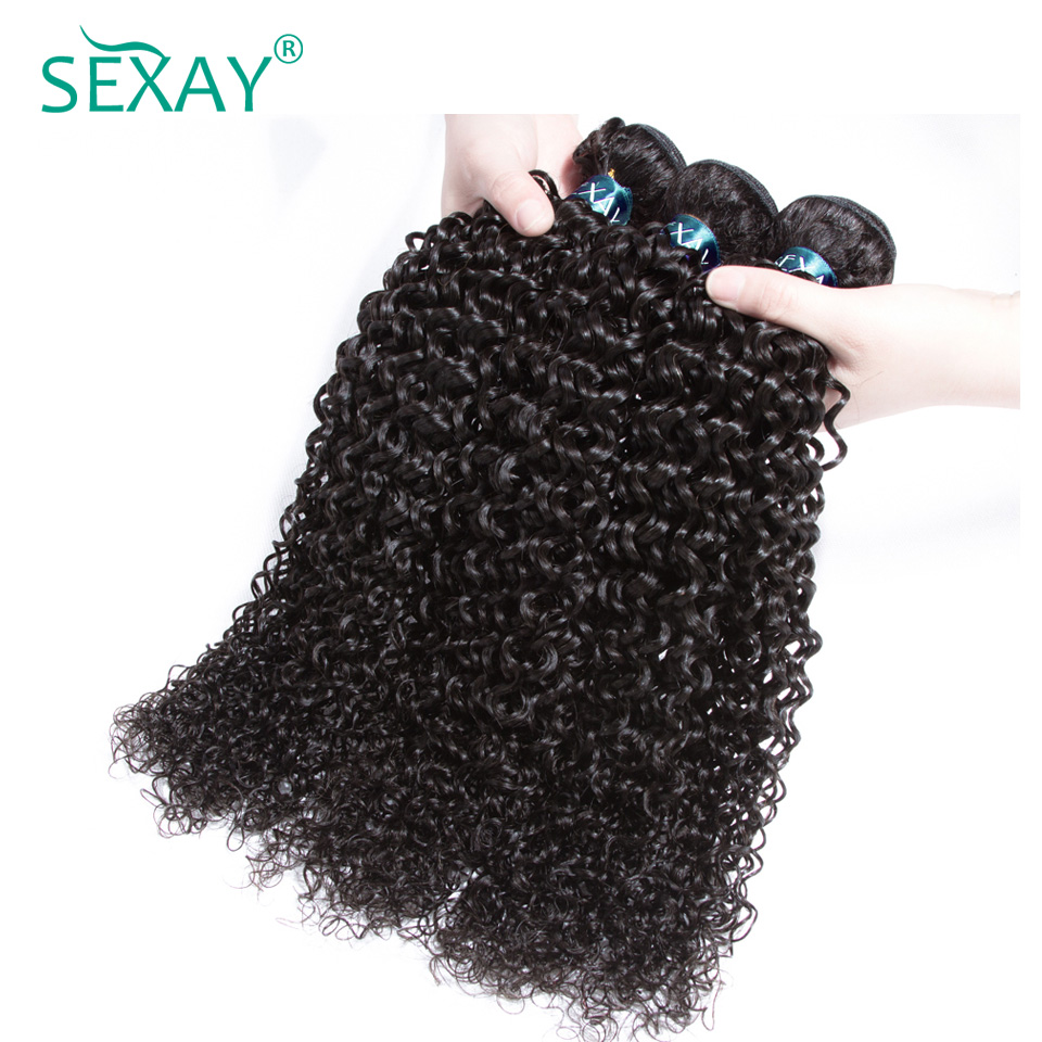 Sexay Kinky Curly Weave Human Hair 3 Bundles Pre-Colored Natural Black 100% Remy Human Hair Malaysian Human Hair Weave Bundles