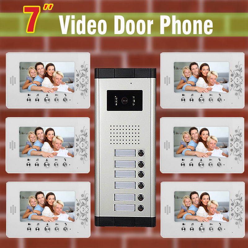 6 units Apartment Video Door Phone Intercom System 7 LCD monitor night vision Camera for Apartment video Door bell Intercom video intercom system 4 3 tft lcd handset screen 2 monitor wired video doorphone for 2 apartment night vision camera