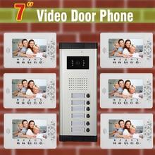 6 units Apartment Video Door Phone Intercom System 7″ LCD monitor night vision Camera for Apartment video Door bell Intercom