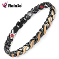 Rainso Stainless Steel Bracelets & Bangles Magnetic Bracelet Black plated 4 Elements Health Bracelets for Women OSB-1551BKG