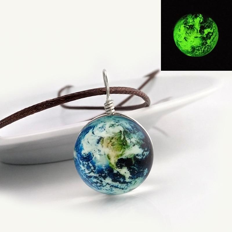 ヴィンテージガラス玉地球デザインロングネックレスシンプルな発光ペンダント&ネックレス男性と女性ビジューファッションジュエリー