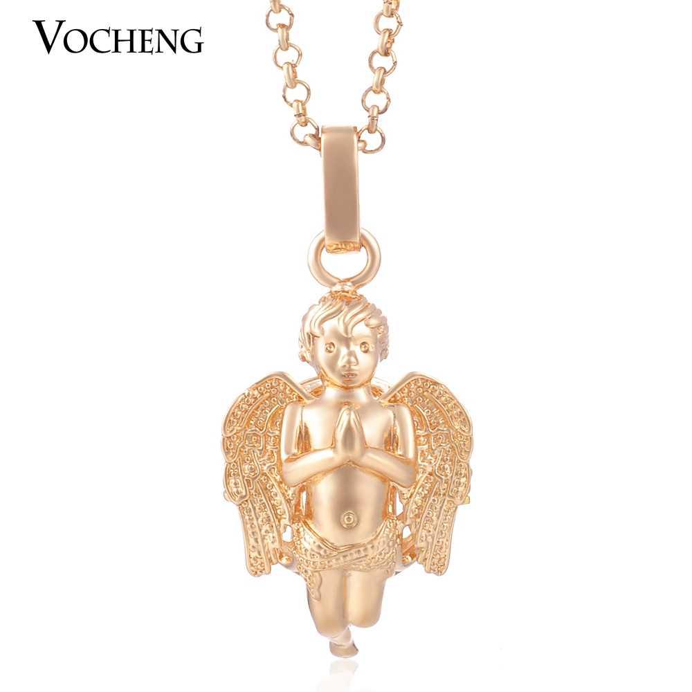 10 ชิ้น/ล็อต Vocheng เด็ก Chime เครื่องประดับ 2 สีทองแดงชุบโลหะจี้สร้อยคอสแตนเลสโซ่ VA-082 * 10