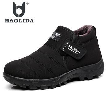Новинка 2018 года; мужские ботинки; теплые зимние ботинки из бархата; Мужская обувь; модные мужские зимние ботильоны на резиновой подошве; Раб... >> HAOLIDA Store