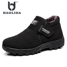 Купить с кэшбэком 2017 New Men Boots Winter With Velvet Warm Snow Boots Men Shoes Footwear Fashion Male Rubber Winter Ankle Boots Work Shoes