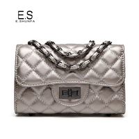 New Design Women Bag Small Fashion 2017 Thread Plaid PU Leather Shoulder Bags Quilted Chain Casual