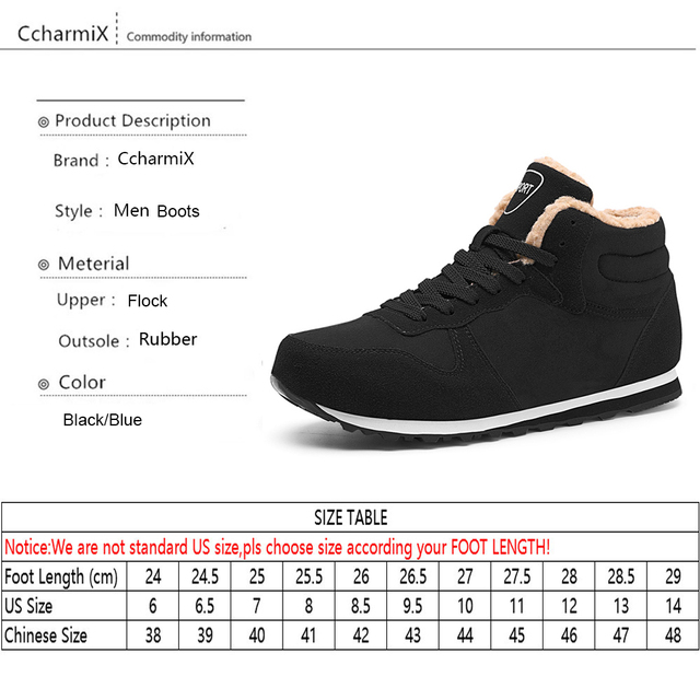 CcharmiX Big Size Men Shoes 2018 Top Fashion New Winter Casual Ankle Boots Warm Winter Fur Man Snow Boots Flock Leather Footwear 5