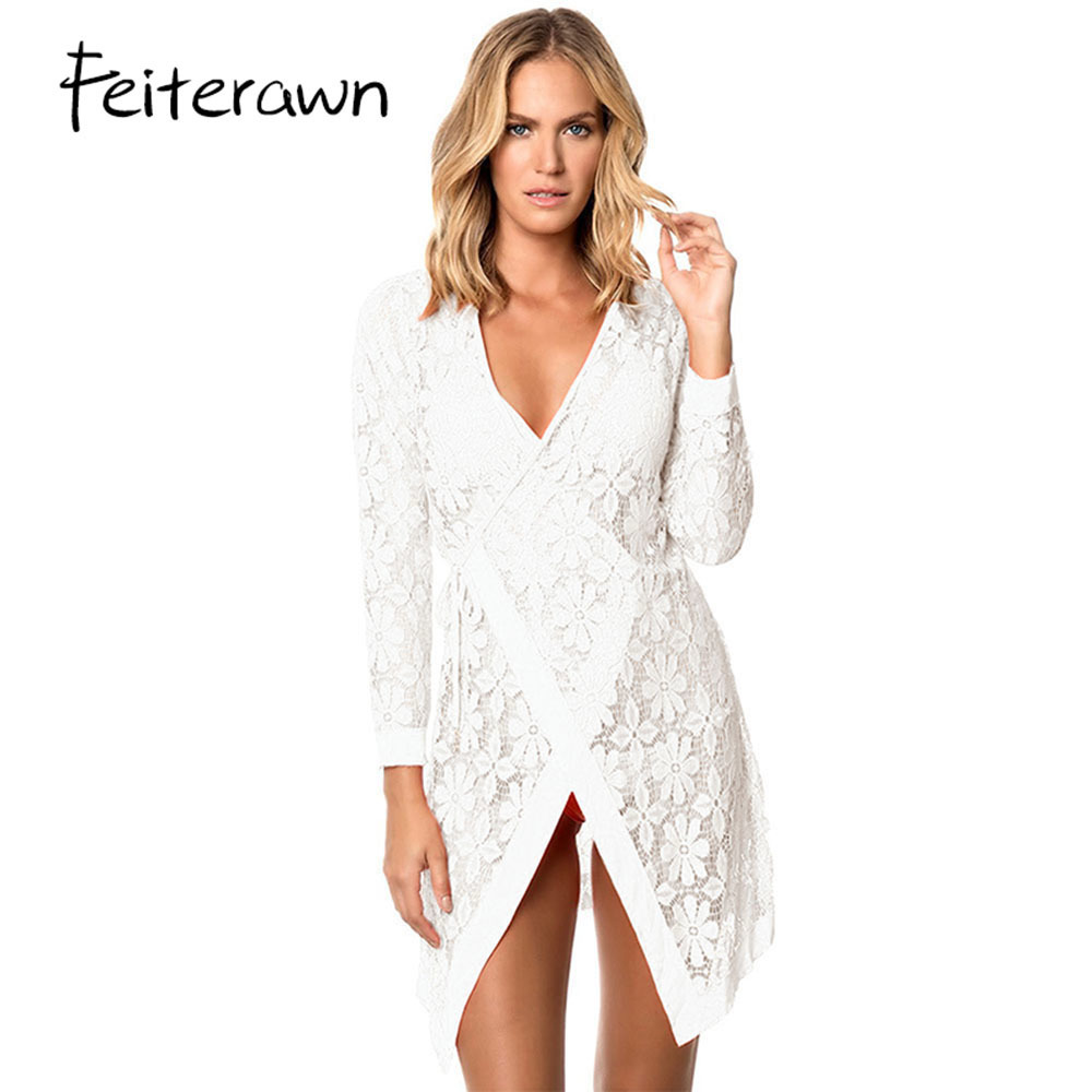 Feiterawn 2018 Summer Beach Dress See Through Orange Tie Up Long Sleeve Lace Cover Up Bathing Suit Beachwear Women MX292