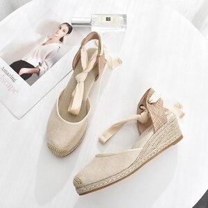 Image 5 - 5 סנטימטר עקב טריז נשים 2019 קיץ נעלי בד סנדלי