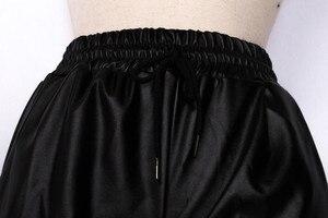 Image 5 - ファッション黒フェイクレザージョギング女性緩いジョガーパンツヒップホップストリート摩耗ハーレムパンツ女性