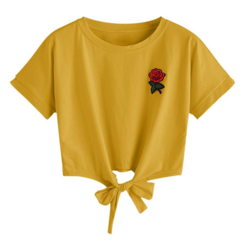 HTB17EK0SpXXXXc.XXXXq6xXFXXXz - Embroidery Rose Short Sleeve Tops Tees JKP110
