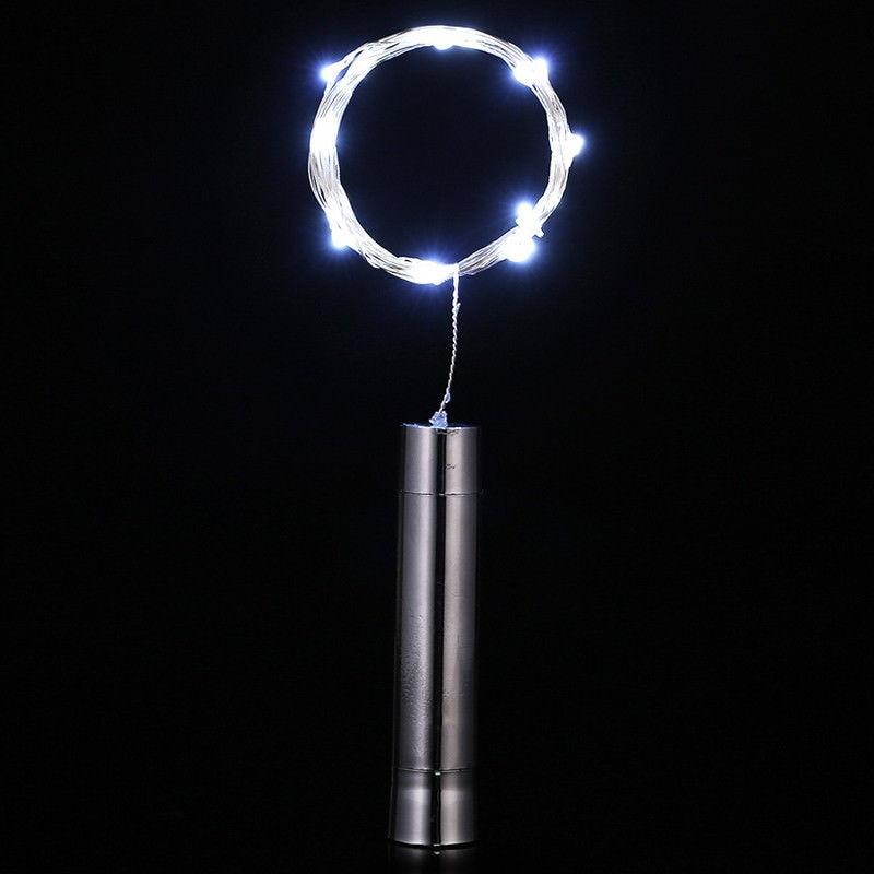 Гирлянды серебряные светодиодный светильники в форме винных бутылок Питание от батареи в форме пробки стеклянная бутылка Пробка Лампа Рождественская гирлянда для украшения - Испускаемый цвет: Белый
