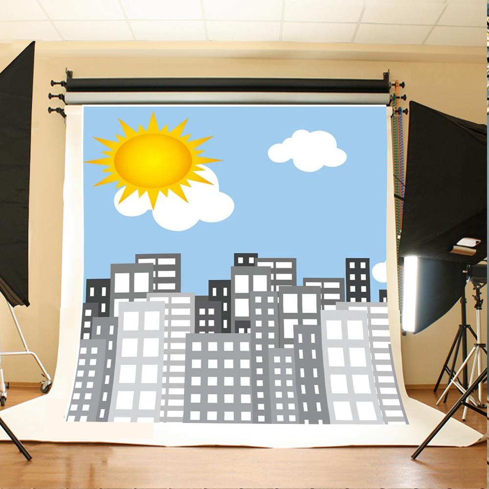 Sun Blue Sky White Clouds Super Cartoon City Backgrounds Vinyl cloth High quality Computer print children kids backdrop