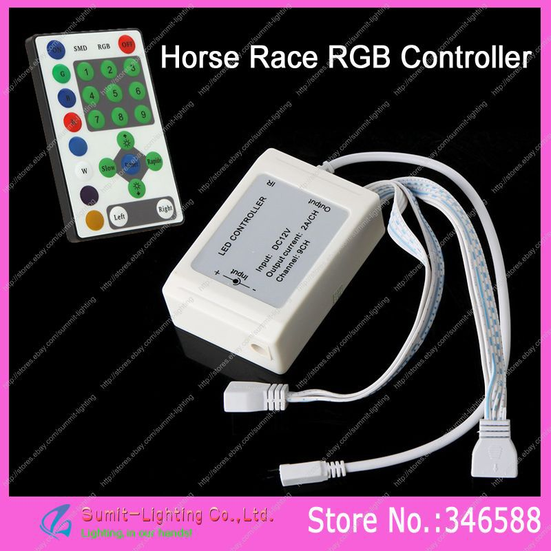 DC12V 3A*9CH RGB Controller With 25 Key IR Wilress Remote Controller For 5050 Horse Race RGB LED Strips