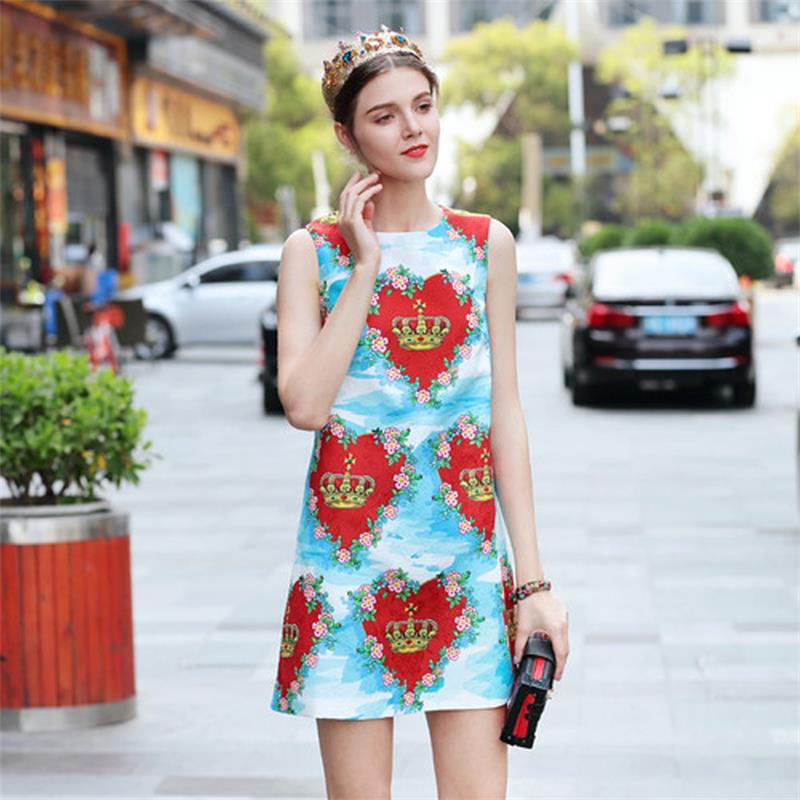 Women's Clothing Spring Summer Dress 2018 High Quality Women Designer Runway Dresses O-neck Sleeveless Printed Jacquard Casual Dress Npd0636n