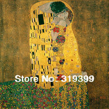 Oil Painting Reproduction on linen Canvas,The Kiss by gustav klimt,100% handmade,Free fast Shipping,Museam Quality