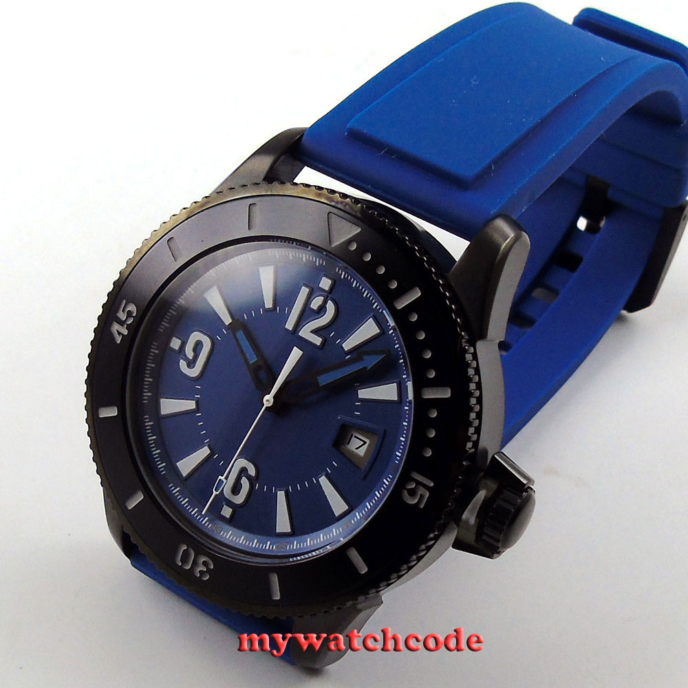 лучшая цена 43mm BLIGER blue dial date rubber strap automatic mens wrist watch 3