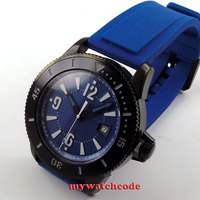 43mm BLIGER blue dial date rubber strap automatic mens wrist watch 3