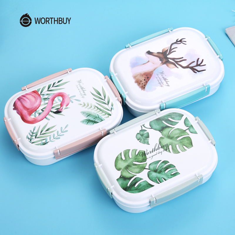 WORTHBUY Japanese Color Pattern Bento Box 304 Stainless Steel Lunch Box With Compartments For Kids School Food Container Storage