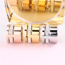 Stainless Steel Womens Finger Rings Rose Gold Three Layers With Crystals Gold-Color Trendy Couple Wedding Jewelry Female Gifts
