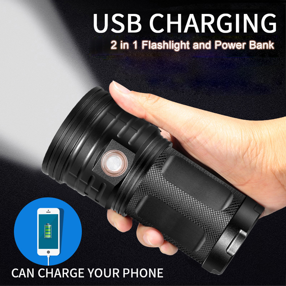 High Power LED Flashlight Searchlight 3-18*T6 LED Torch 48000 Lumens Waterproof Light  4*18650 Battery USB Charge As Power Bank