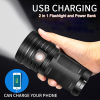 High Power LED Flashlight Searchlight 3 18*T6 LED Torch 48000 lumens Waterproof Light 4*18650 Battery USB Charge as Power Bank