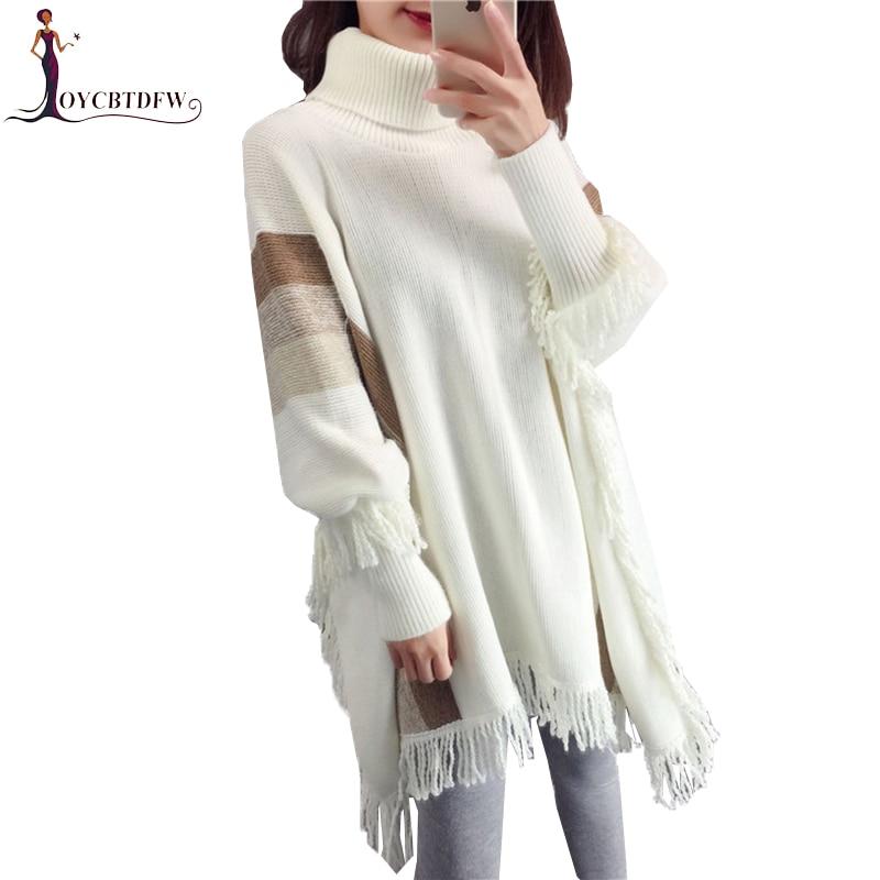Women Turtleneck Sweater Tassel Bat Sleeve Pullover 2018 Fall Winter New Turtleneck Pullover Sweater Female Knit Sweater Top 627 in Pullovers from Women 39 s Clothing