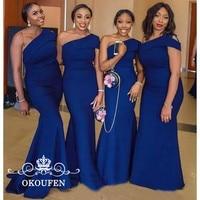 Mermaid One Shoulder Bridesmaid Dresses Royal Blue African Women Long Maid Of Honor Wedding Guest Dress