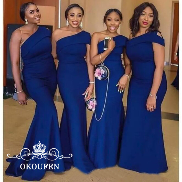 OKOUFEN Wholesale Mermaid One Shoulder Bridesmaid Dresses 2018 Royal Blue Stain  African Women Long Maid Of Honor Dress Party 1a3861021f3a