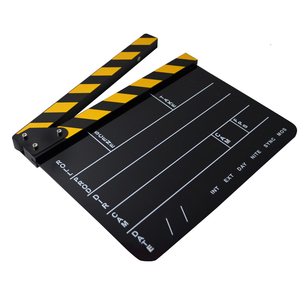 MINIFOCUS Dry Erase Acrylic Director Film Clapboard Movie TV Cut Action Scene Clapper Board Slate with Yellow/Black Stick, White