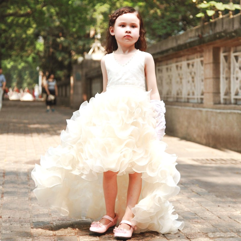 ebecd1b9be4 Lavender Flower Girl Dress 2016 high low ruffles ball gown Kid Evening Gown  Pageant Dresses for Little Girls vestido daminha