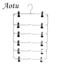 Clothes Hangers Multilayer Skirt Trouser Hanger for Pants Non Slip Metal Hanger Clips With 12 Clips Clothing Storage Rack Holder pants hangers trousers skirt hangers with clips 4 tier metal hangers for heavy duty ultra thin space saving 4 pack