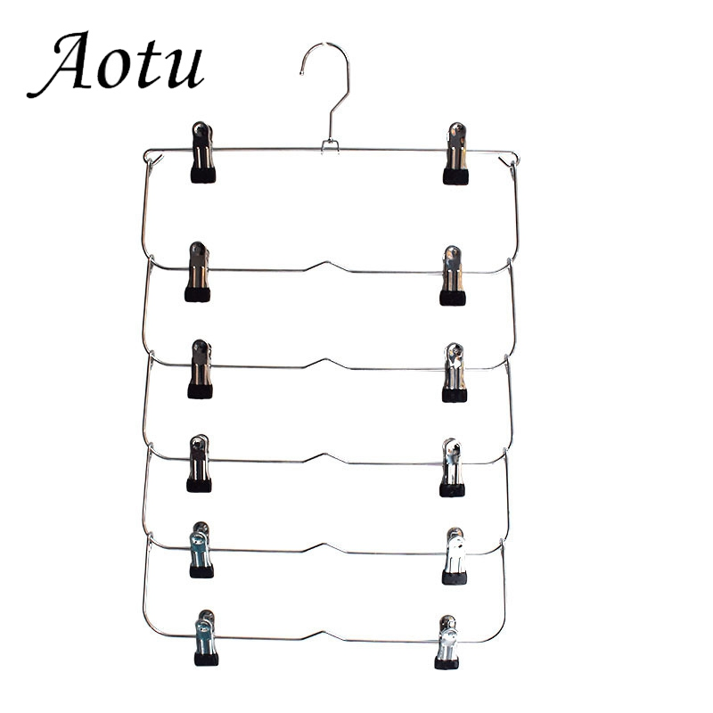 Multilayer Skirt Trouser Hanger for Pants Non Slip Metal Hanger Clips With 12 Clips Clothing Storage Rack Holder Rack Wardrobe