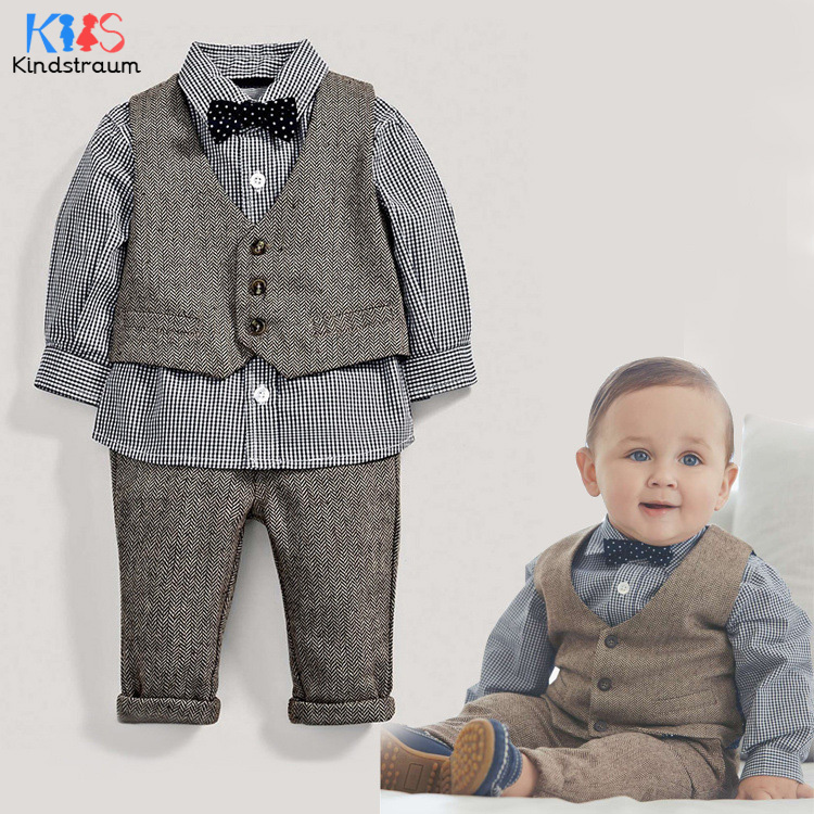 Kindstraum Spring Baby Wedding Formal Suits 3pcs Cotton Plaid Shirts+Vest+Pant Toddler Boys Gentleman Clothing Sets, MC950 набор для пикника на 6 персон picnic ca8477