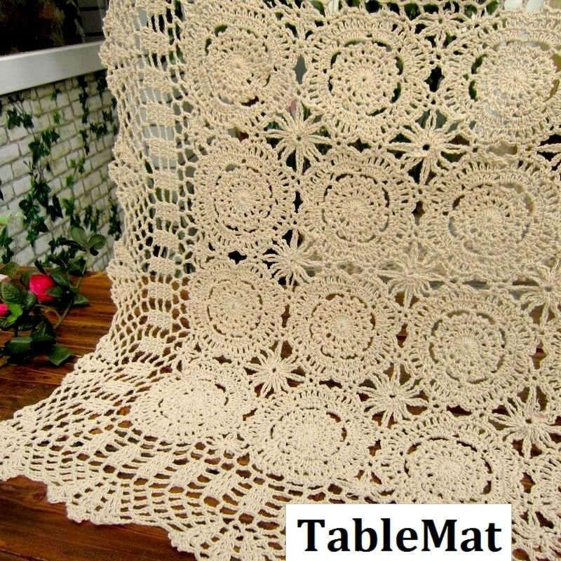 Ручной corcheted Кружевная салфетка, циновка таблицы, покрытие стола, размер: 50/60/70/80/90 см квадратный каблук
