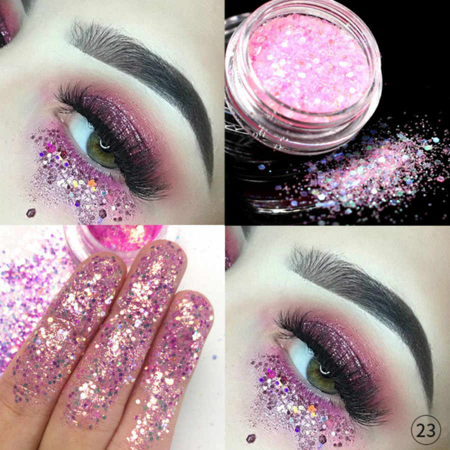 1 Pcs Fashion Merah Muda 12 Warna Glitter Eyeshadow Bubuk Pigmen Mineral Spangle Riasan Kosmetik Set Tahan Lama