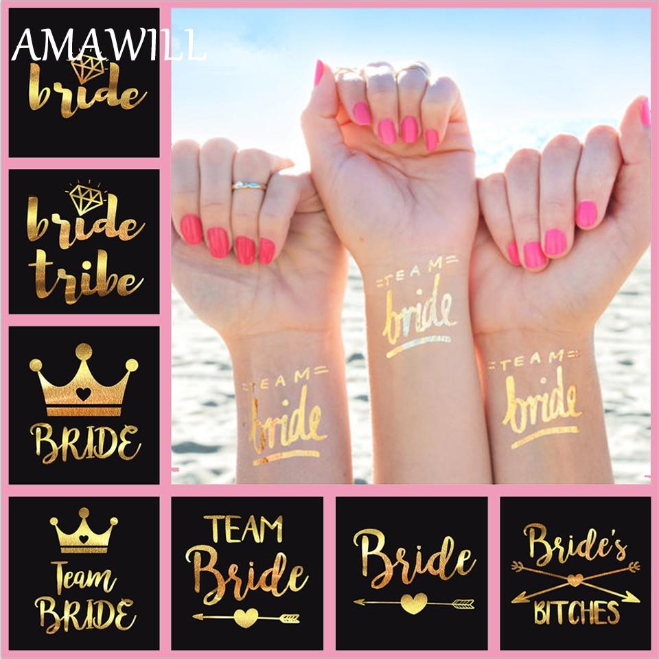 10sheet Romantic Silver/gold Flash Team Bride Temporary Waterproof ...