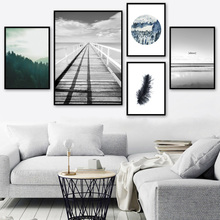 7-Space Nordic Forest Sea Landscape Canvas Painting For Living Room Wall Picture Posters And Prints Decoration No Frame