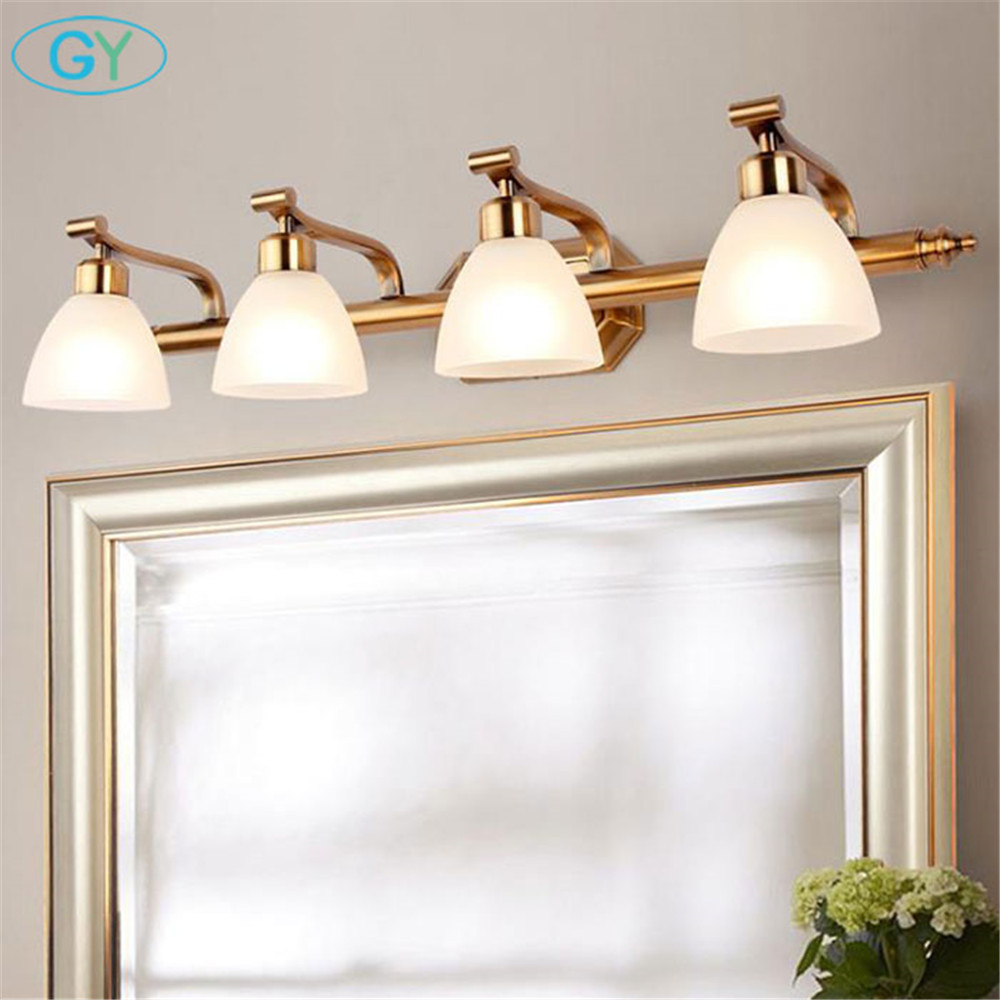 Nordic Europe Style Golden Metal Plated+white Glass Shade E14 Bulb Vanity Lights Minimalist 1/2/3/4 Candle Bulb Mirror Lighting