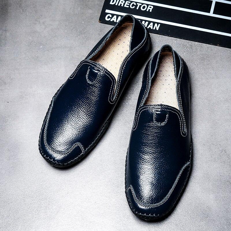 Perezosos Conducción Primera 2018 Casuales Zapatos Hombres Tamaño De Guisantes Cuero Gran Los marrón blanco Negro Verano Tendencia Capa azul x6vxO