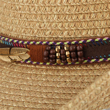Classical Western Cowboy Hat For Men Women Summer Straw Hats Alloy Feather Beads Cowgirl Jazz Cap Wide Brim Sun Caps Sombrero