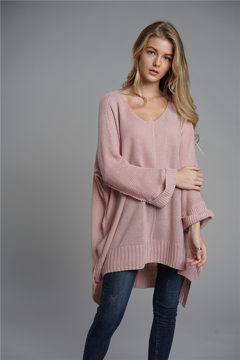 Oversized Batwing Sleeve Lady's Sweater, Knitwear V Neck, Long Pullover 11