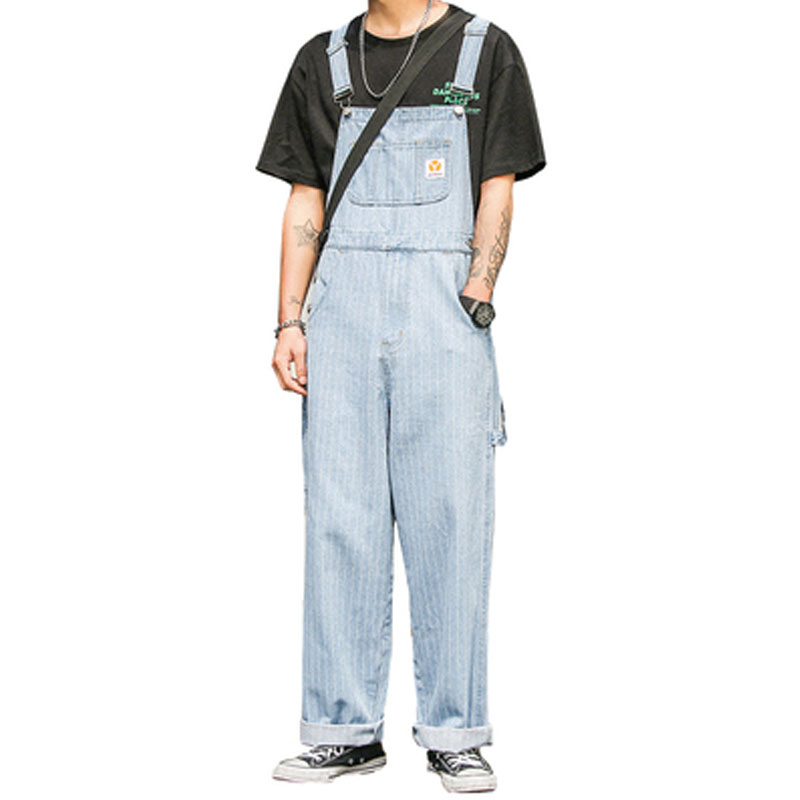 Overalls Jumpsuits Jeans Male Bib-Pants Pocket Loose Men's Casual Denim Fashion