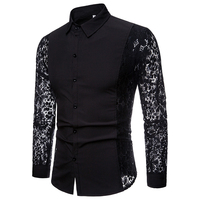 Fashion Lace Sleeve Design Men Party Shirt Autumn New Slim Fit Tuxedo Shirts Long Sleeve Dress Shirt Male Black/White XXL