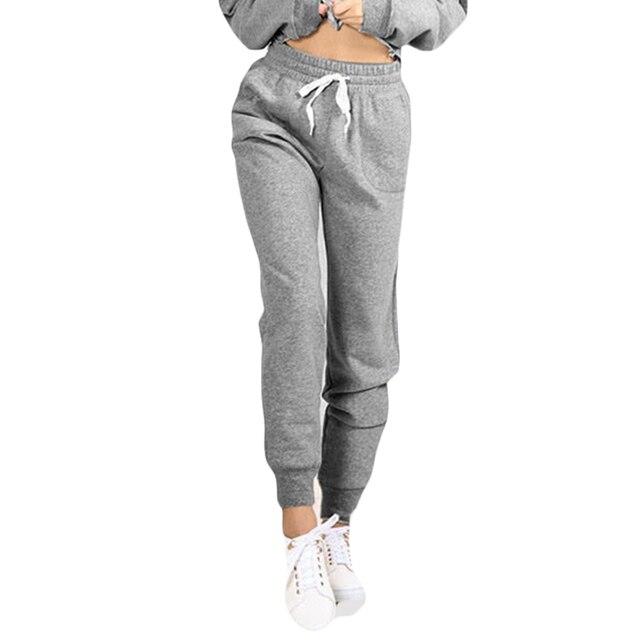 Otoño Invierno moda Casual deportivos pantalones Pantalones mujer ropa elástica sueltos cintura cordón deportiva bolsillos 2017 TAqwFdnpA