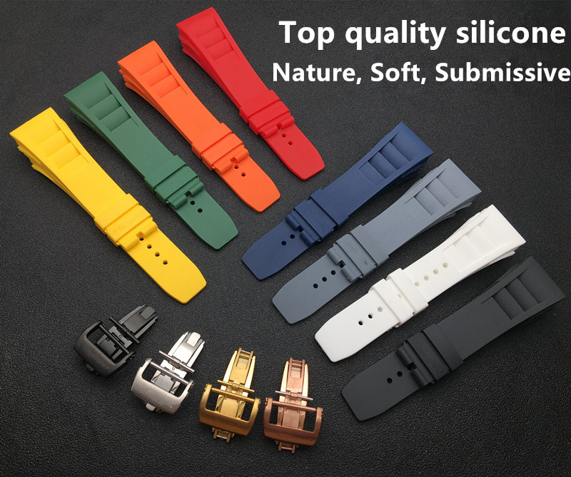 Black Blue Red Grey Imported Nature Soft Silicone Rubber Men Watchband Watch Band For Mille Strap For RM011 For Richard Strap