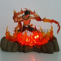 One Piece Action Figure Ace Led Fire Base 170mm Anime One Piece Portgas D Ace Fire Fist Figurine Collectible Model Toys